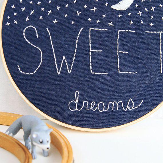 Sweet Dreams Nursery Decor Embroidery Hoop Art by ...