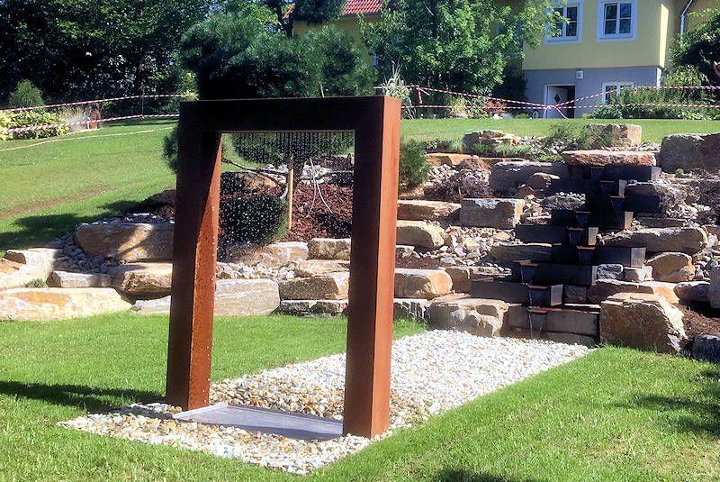 Http Www Designer Brunnen De Cortenstahl Kundenfotos Wassertor