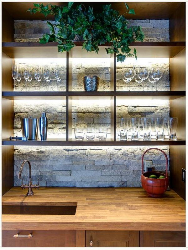 Brique et tag res d coration pinterest bar la maison tag res ouvertes et bar int rieur - Bar interieur maison ...