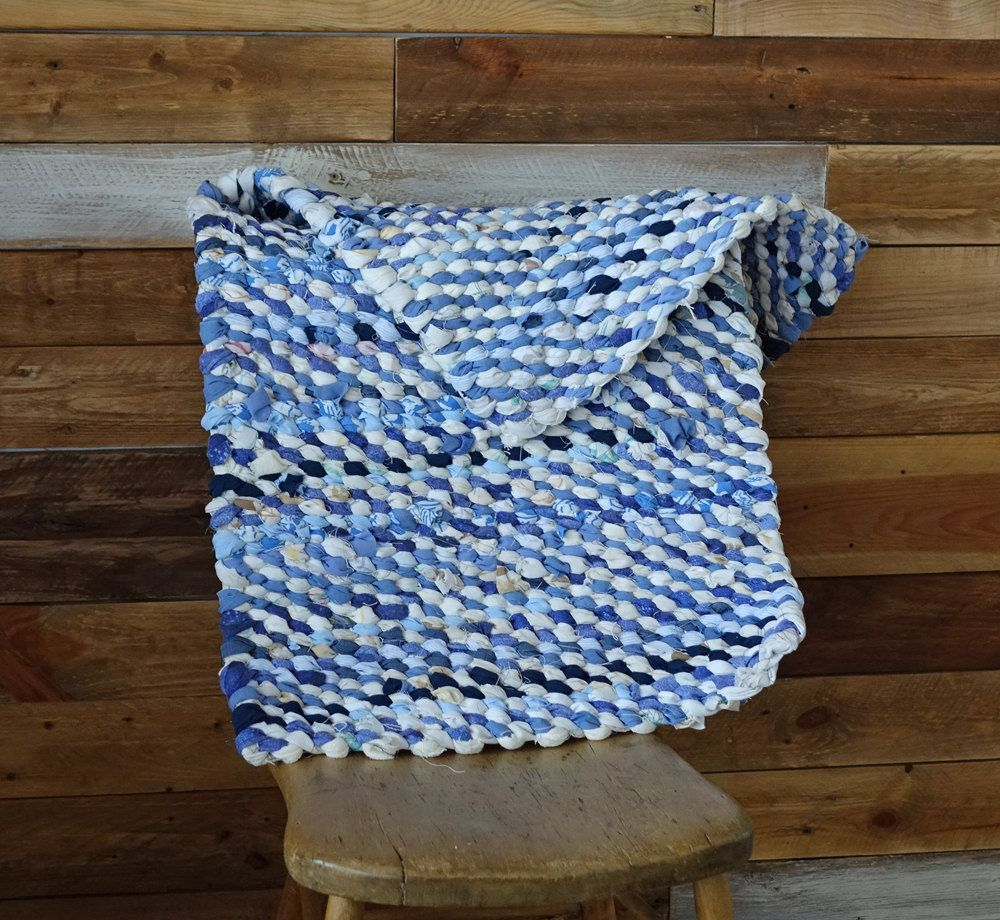 Blue White Rag Rug Weaving Handmade Cottage Chic 18 X 38 Free Canada Us Shipping