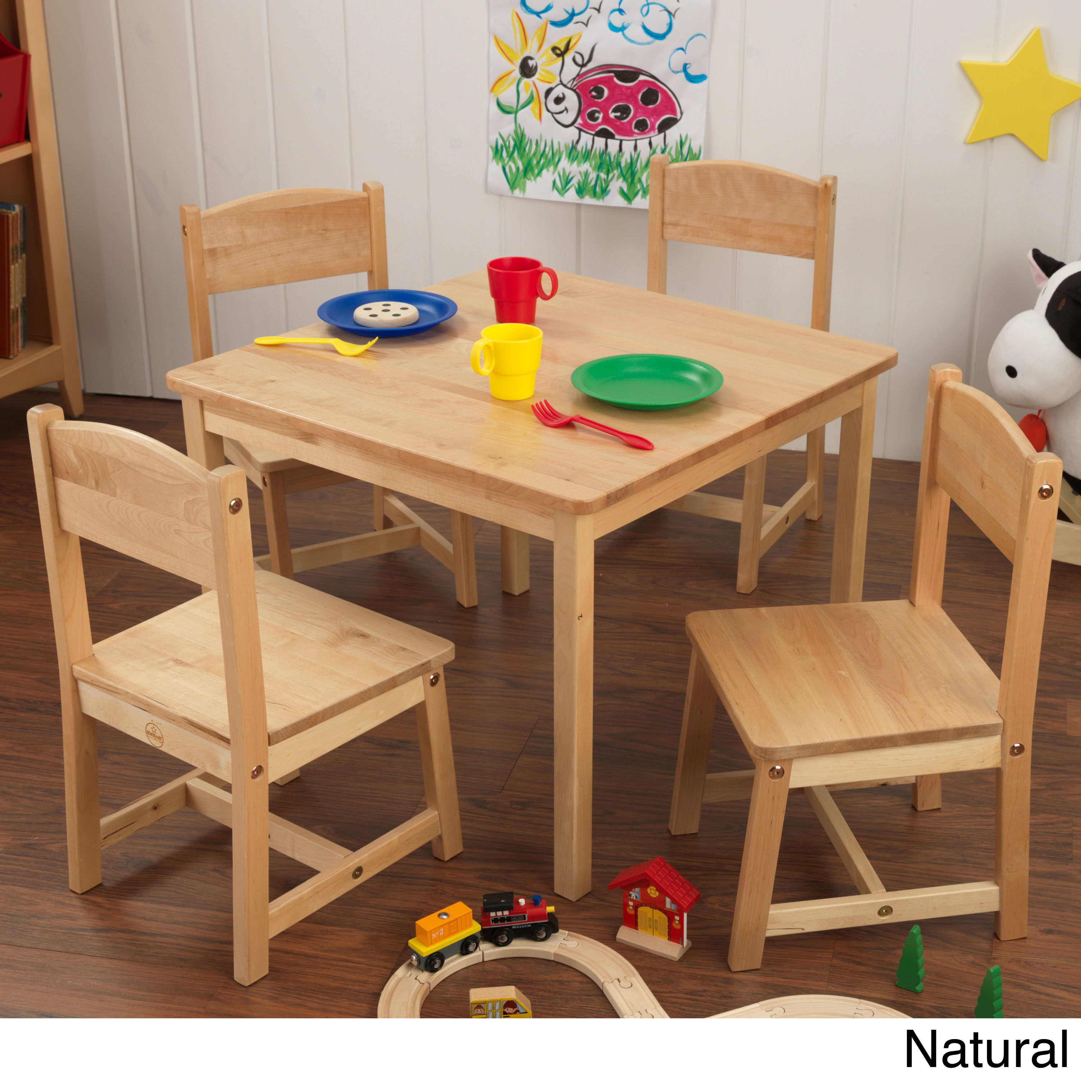 kidkraft farmhouse table and chair set espresso gaming with pedestal 5 piece chairs natural finish brown