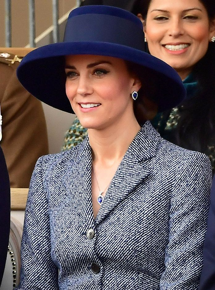 Demonstrating the right way to rework a wardrobe staple, the Duchess of Cambridge tread a bit outside her comfort zone with a wide-brim navy hat.