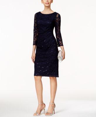 Jessica Howard Petite Sequined Lace Sheath Dress Macys