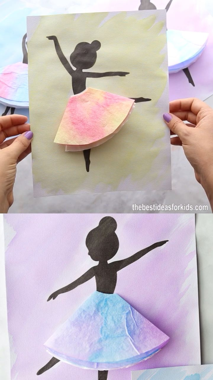 COFFEE FILTER BALLERINAS   - such a fun craft for kids! Perfect watercolor painting project for kids.