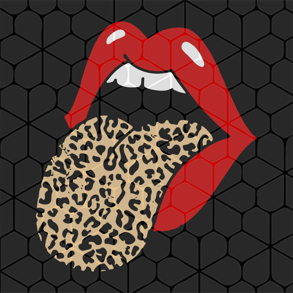 Red lips leopard tongue trendy animal SVG Files For