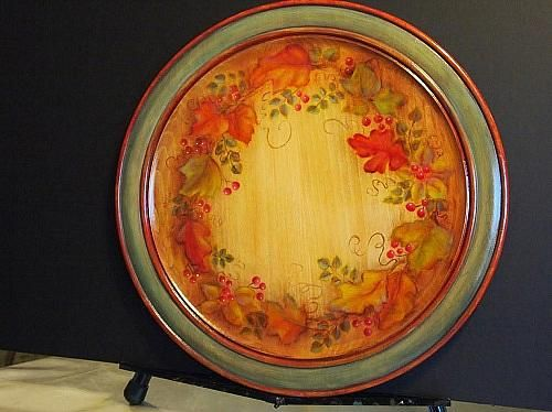 Colors of Fall Decorative Plate - Project by DecoArt & Colors of Fall Decorative Plate -- Wood stain painting creates a ...