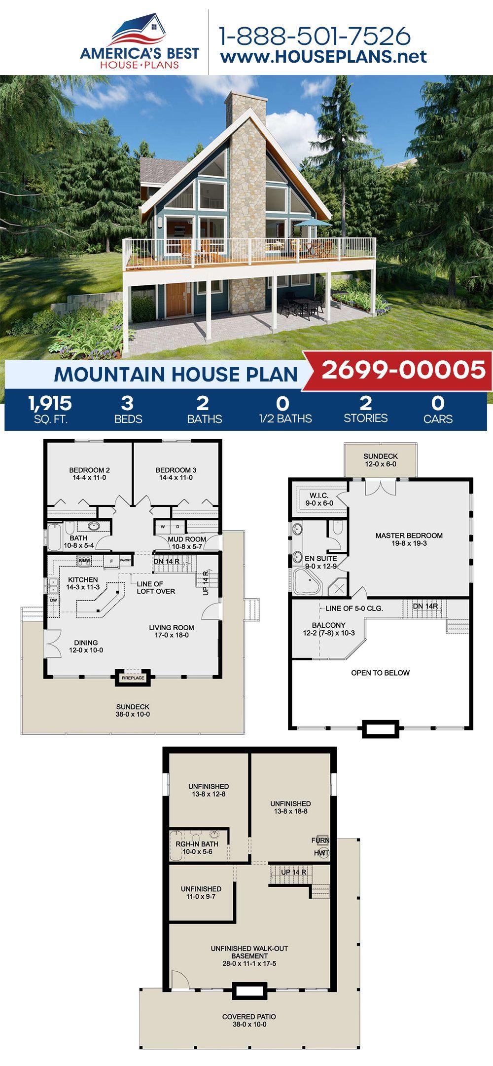 House Plan 2699 00005 Mountain Plan 1 915 Square Feet 3 Bedrooms 2 Bathrooms Lake House Plans Mountain House Plans Mudroom Floor Plan