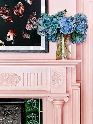 mantel decorating ideas for spring pink fireplace with blue hydrangeas