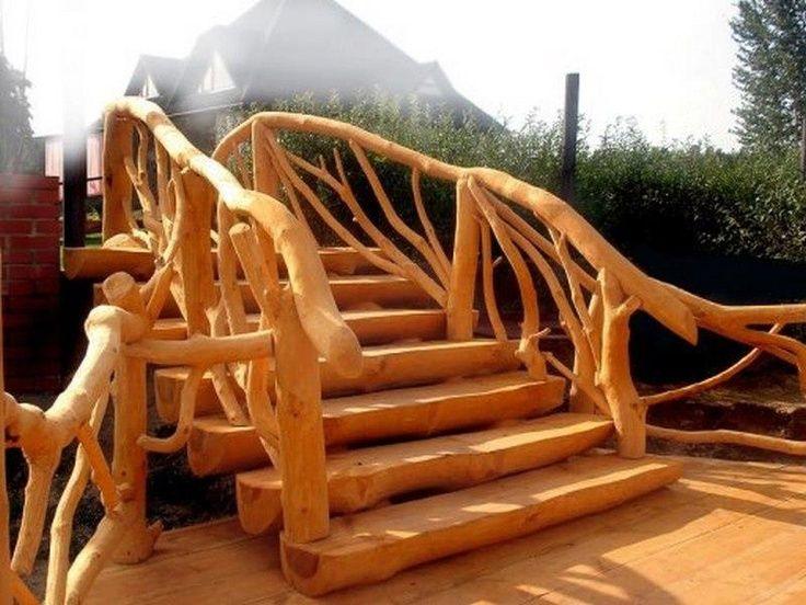 Raw Wood,bridge,stairs,steps,rustic.   Ideas Permacultura ...