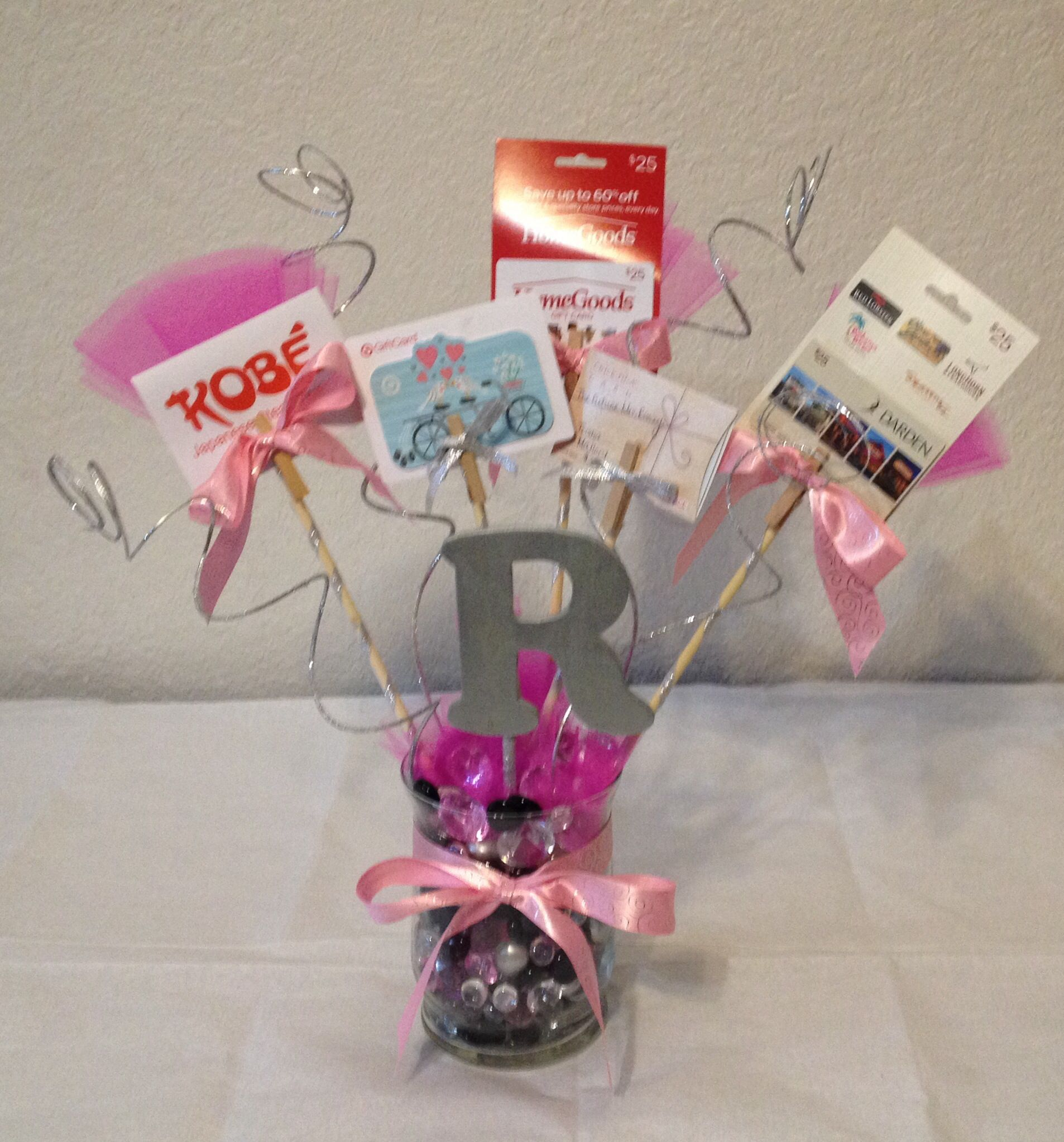 Gift Card For Wedding: Bridal Shower Gift Card Bouquet DIY Materials Used: Glass