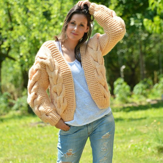 Clothing, Shoes & Accessories ❤ Extravagantza ❤ Hand Knitted Wool Mohair Sweater Cardigan Gray Bomber Jacket Easy To Use Sweaters