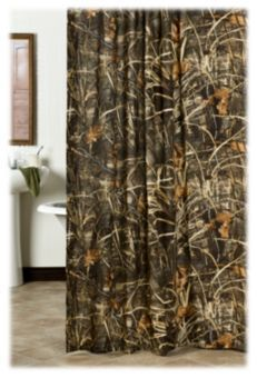 Realtree Max 4 Camo Shower Curtain Cabin Camouflage Rustic Hunting Bathroom