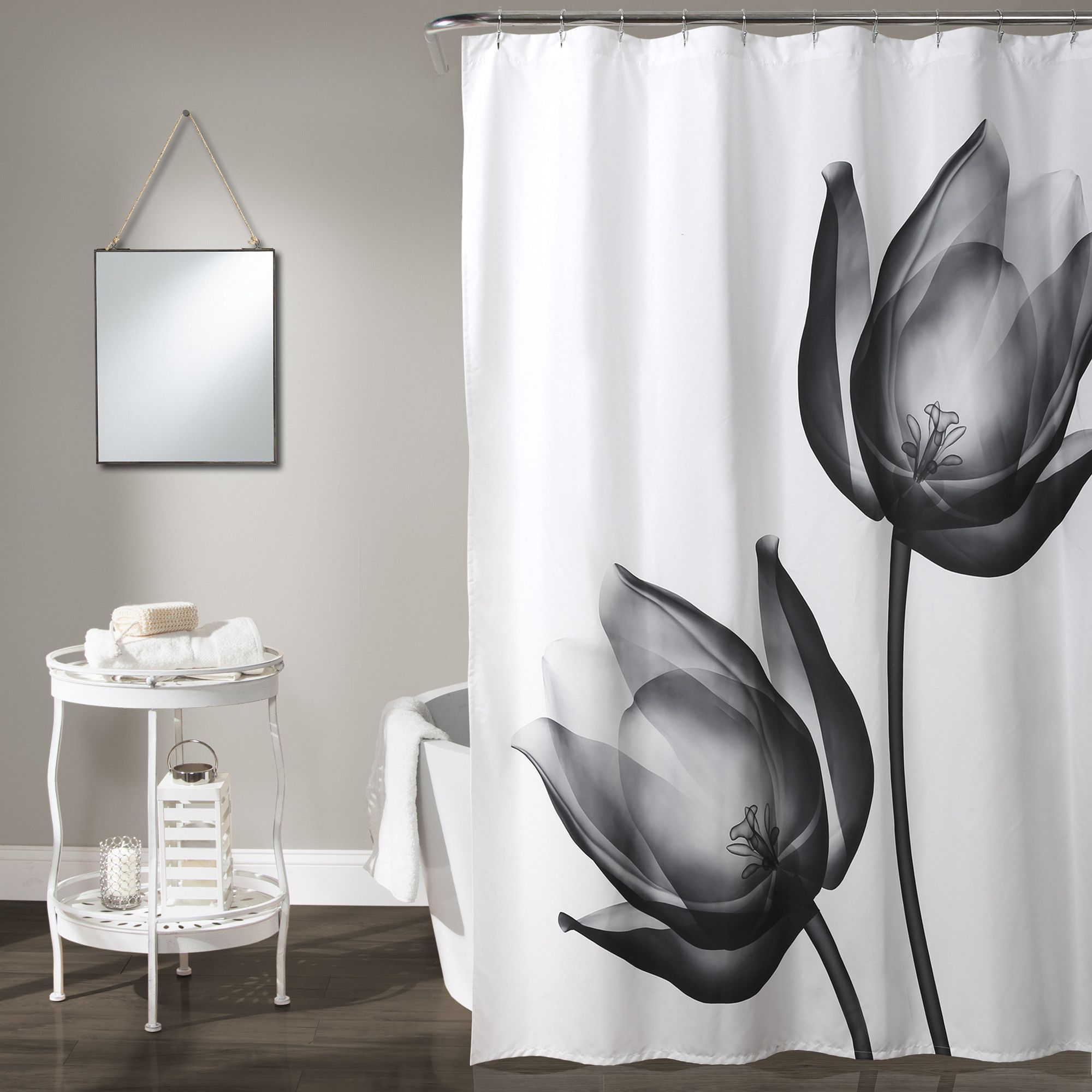 Xray Tulip Shower Curtain White Shower Curtain Tulip Shower