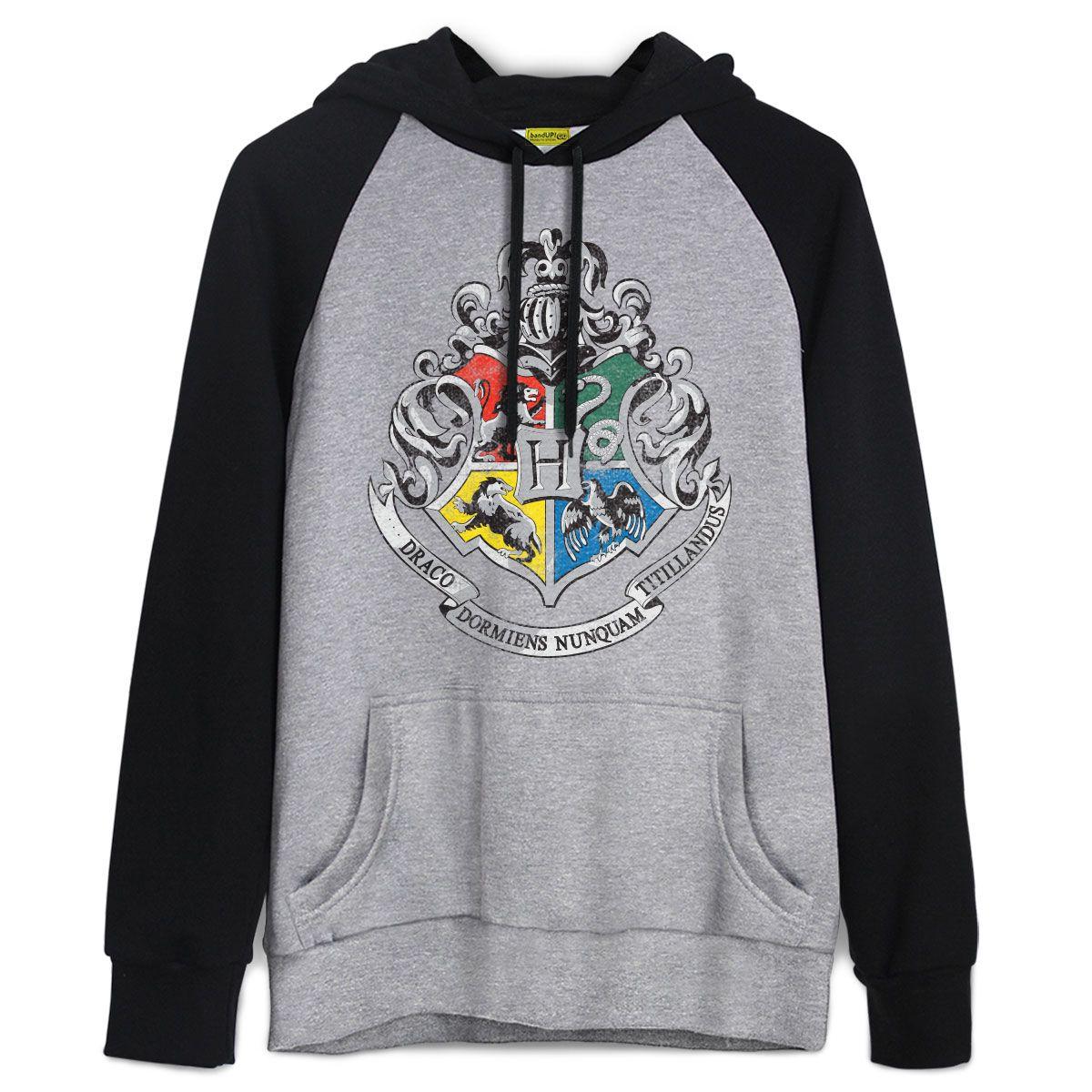 Moletom Raglan Harry Potter Brasão de Hogwarts  f0cfc3e8948