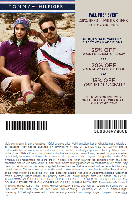 photograph about Tommy Hilfiger Coupon Printable named Cost-free Printable Discount codes: Tommy Hilfiger Coupon codes Discount or