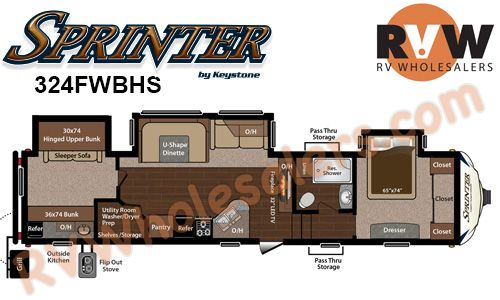 2015 Sprinter Copper Canyon 324fwbhs Fifth Wheel By Keystone Rv Stock Po112949 Inventory The Original Rvwholesaler Wide Body Fifth Wheel Campers Fifth Wheel