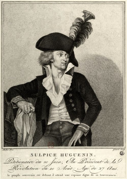 Sulpice Huguenin - engraving by Mallet et Gerard. Huguenin was a leader of the crowd which entered the Tuileries palace to protest the dismissal of the Brissotin ministry in 1792