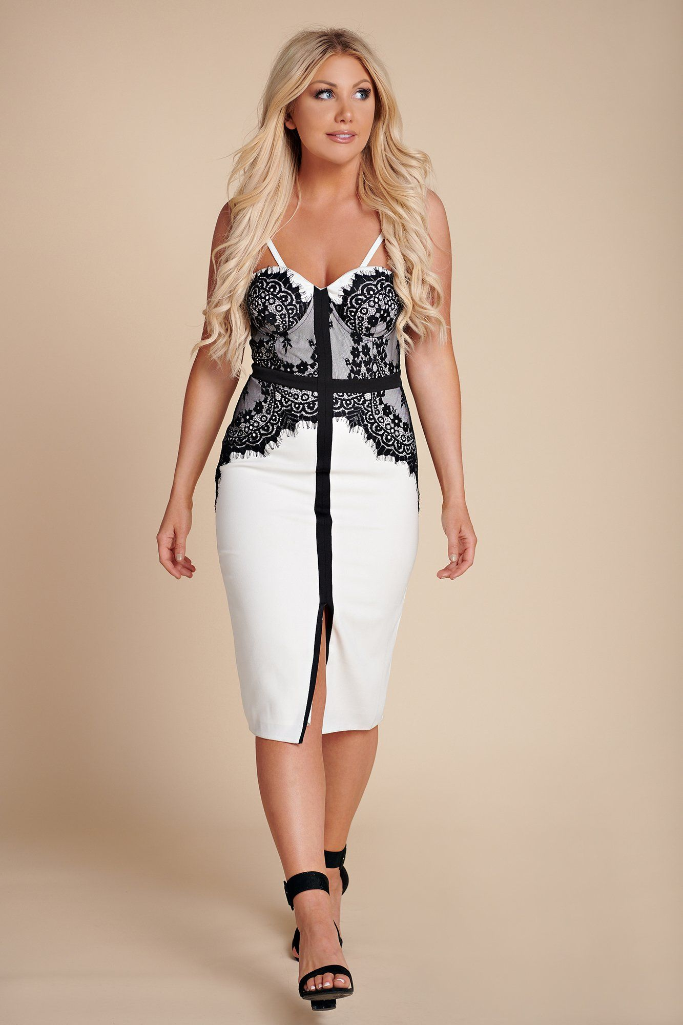 c9b76e5186 Love Me Right Lace Dress (White/Black) in 2019 | Dresses | Lace ...