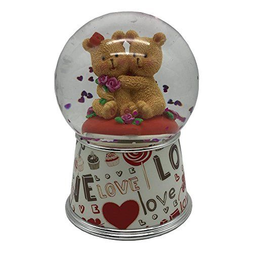"""Disney Mickey Mouse snow water globe /""""HAPPY VALENTINES DAY/"""" collectible new"""
