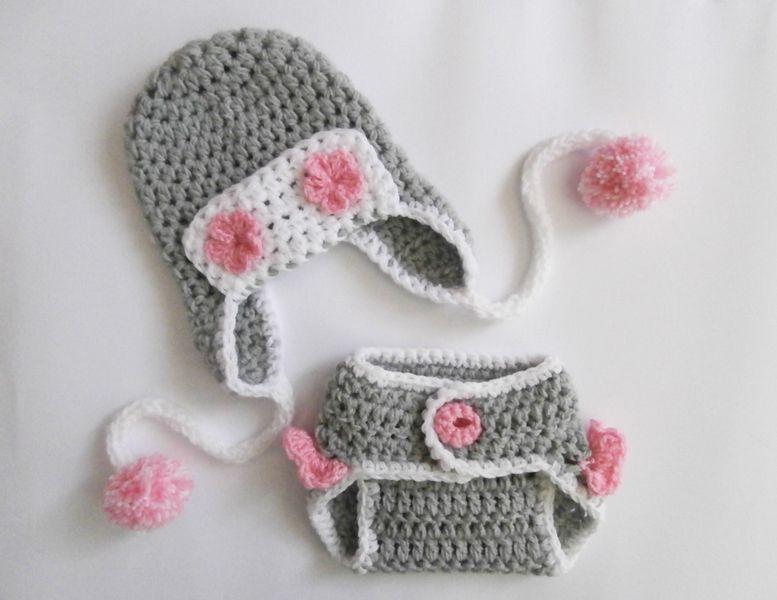 Neugeborenen Set Mütze Windelhose Aviator Girl | Häkeln Baby Mütze ...