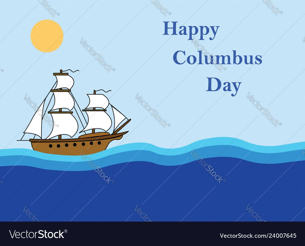 Happy Columbus Day Flat Design Greeting Card Vector Image Ad Day Flat Happy Happy Columbus Day Merry Christmas Card Greetings Merry Christmas Vector