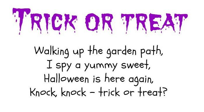 trick or treat poems about candy for kids 1