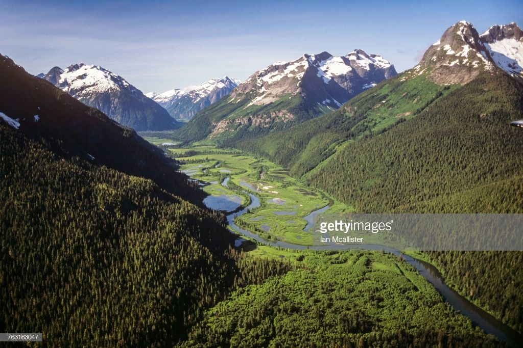 Aerial of Gitnadoix River Provincial Park, a tributary of