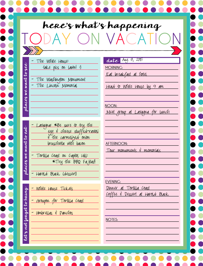 free printable daily and weekly vacation calendars organization