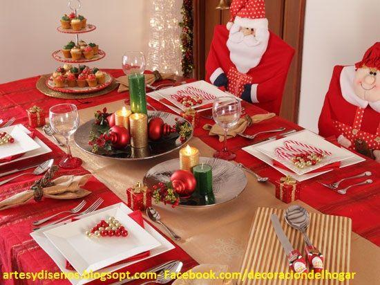 como decorar mesas para navidadartesydisenos.blogspot