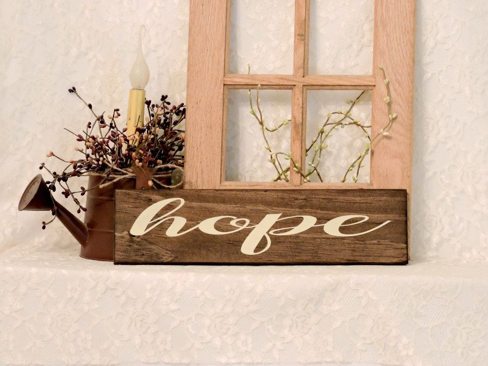 Hope - Primitive Country Painted Wall Sign, Wall Decor, Inspirational Sign, Inspirational Decor, Ready to Ship by thecountrysignshop on Etsy