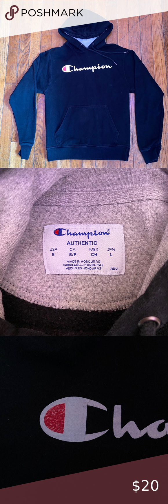 Black champion hoodie Basic black champion hoodie with logo across chest, men's size small, GUC logo is cracking otherwise in good condition. Fits a women's small-medium Champion Shirts