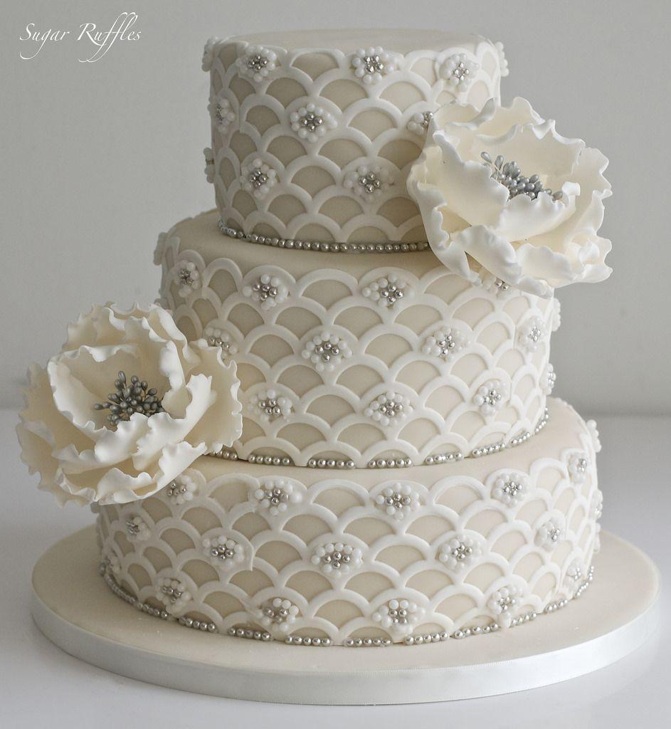 Ivory silver beaded wedding cake beaded wedding cake wedding cake
