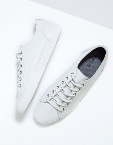 White LEATHER dress sneakers  BershkaAccessories  man f5e01b6e768