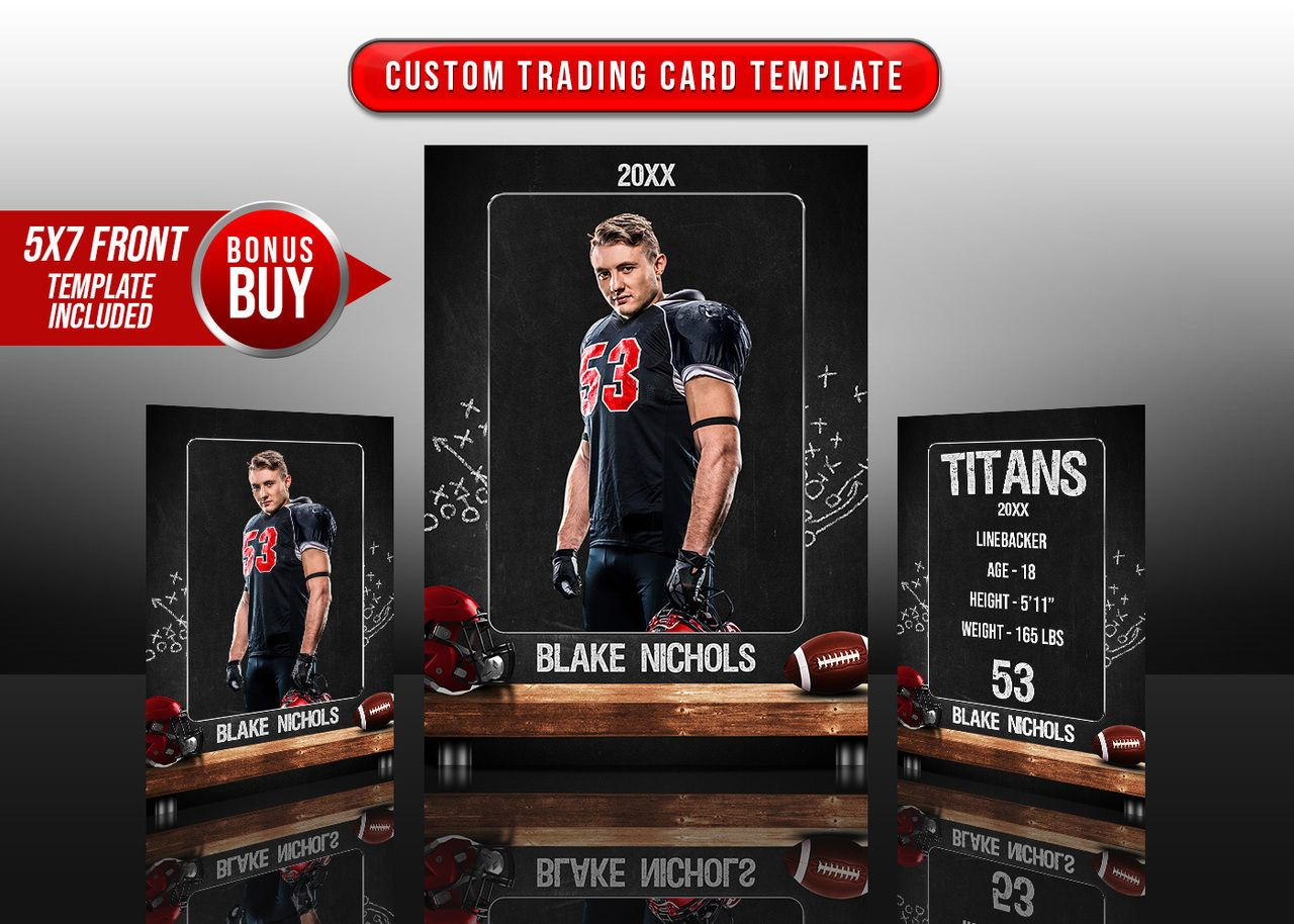 Sports Trading Cards And 5x7 Template Football Chalk Trading Card Template Trading Cards Trading