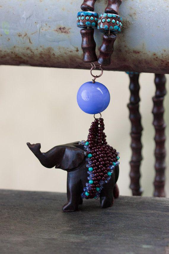 Elephant Necklace, Ebony Blackwood Carved Pendant, Exotic African Style Animal Jewelry Short Necklace Ethno Black Wood Choker Rustic Jewelry