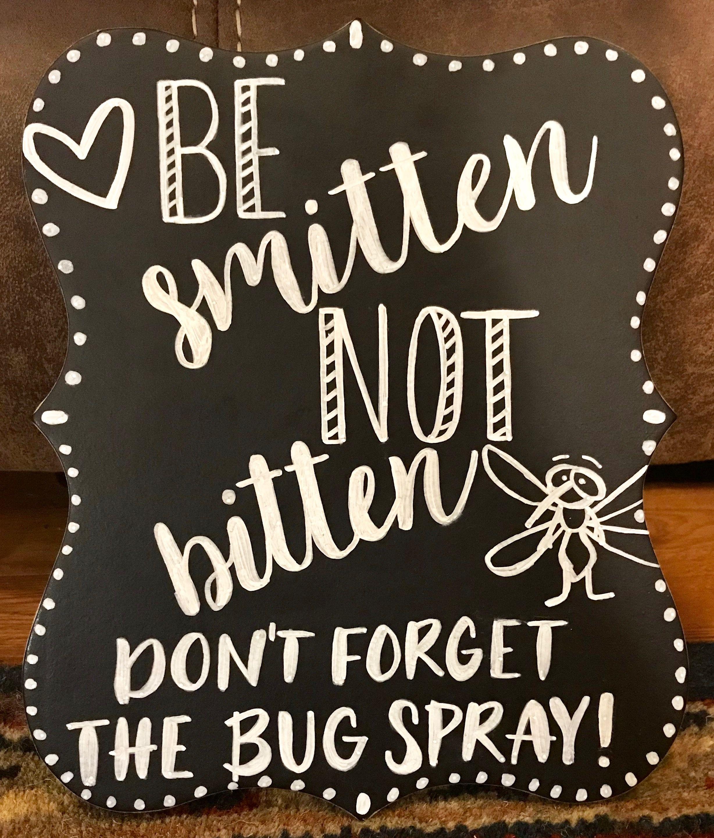 Be Smitten Not Bitten Wedding Bug Station Sign Outdoor Wedding Decorations Wedding Wedding Reception