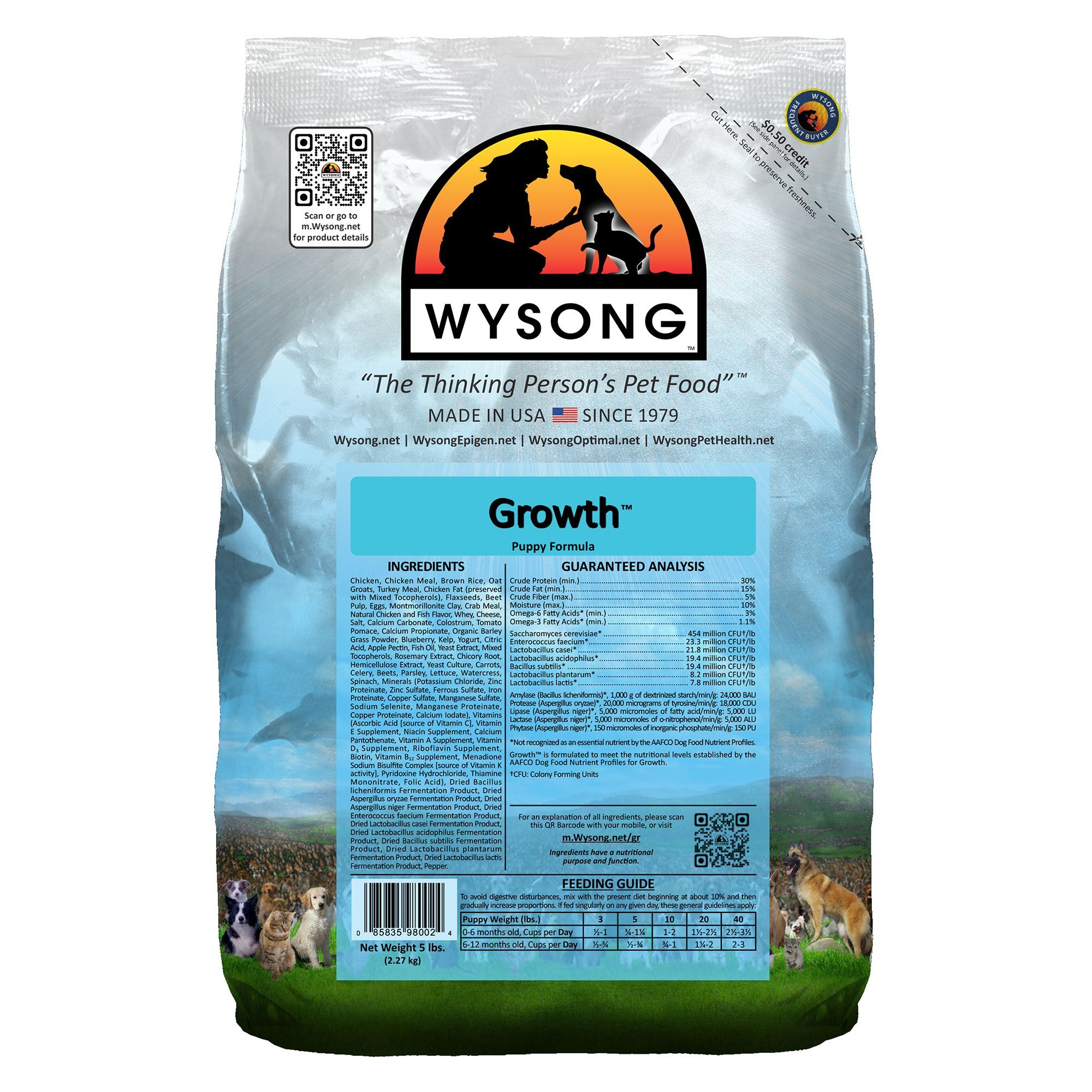 Wysong Growth Puppy Food Chicken size 5 Lb, barley/beet