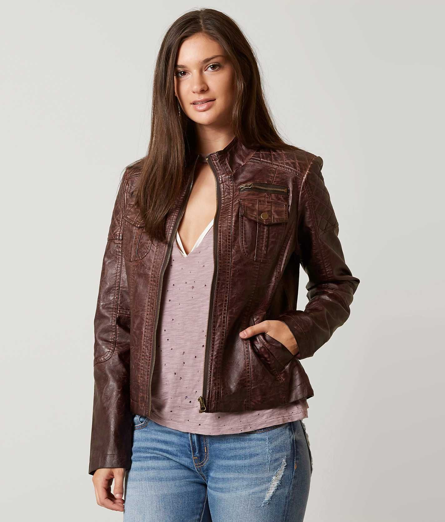 BKE Faux Leather Jacket Women's Coats/Jackets in Washed
