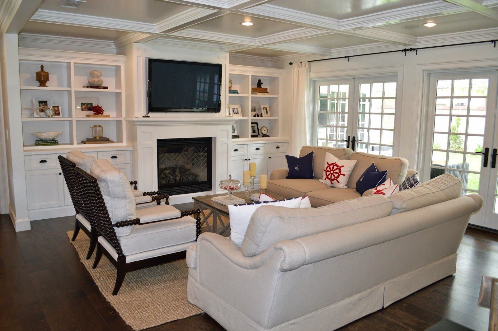 Living Room With Fireplace Layout the cape cod ranch renovation: great room & entry | fireplace