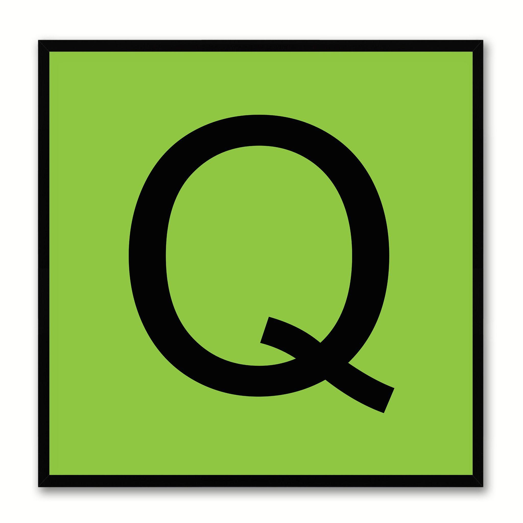 Alphabet Q Green Canvas Print Black Frame Kids Bedroom Wall Dcor Home Art