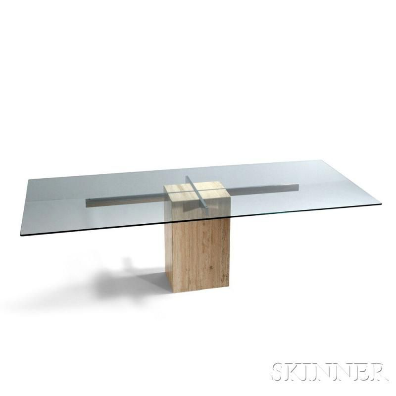 Contemporary Glass and Chromed Steel Dining Table on Marble Pedestal