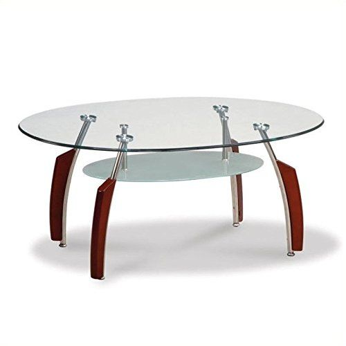 Global Furniture Clear Silver Occasional Coffee Table with Mahogany