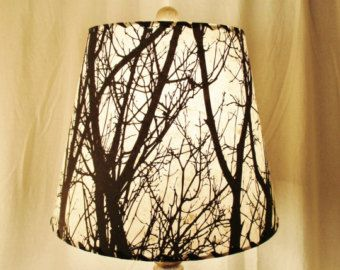 Tree silhouette drum lamp shade black and white tree silkscreened tree silhouette drum lamp shade black and white tree silkscreened lokta paper nature inspired aloadofball Choice Image