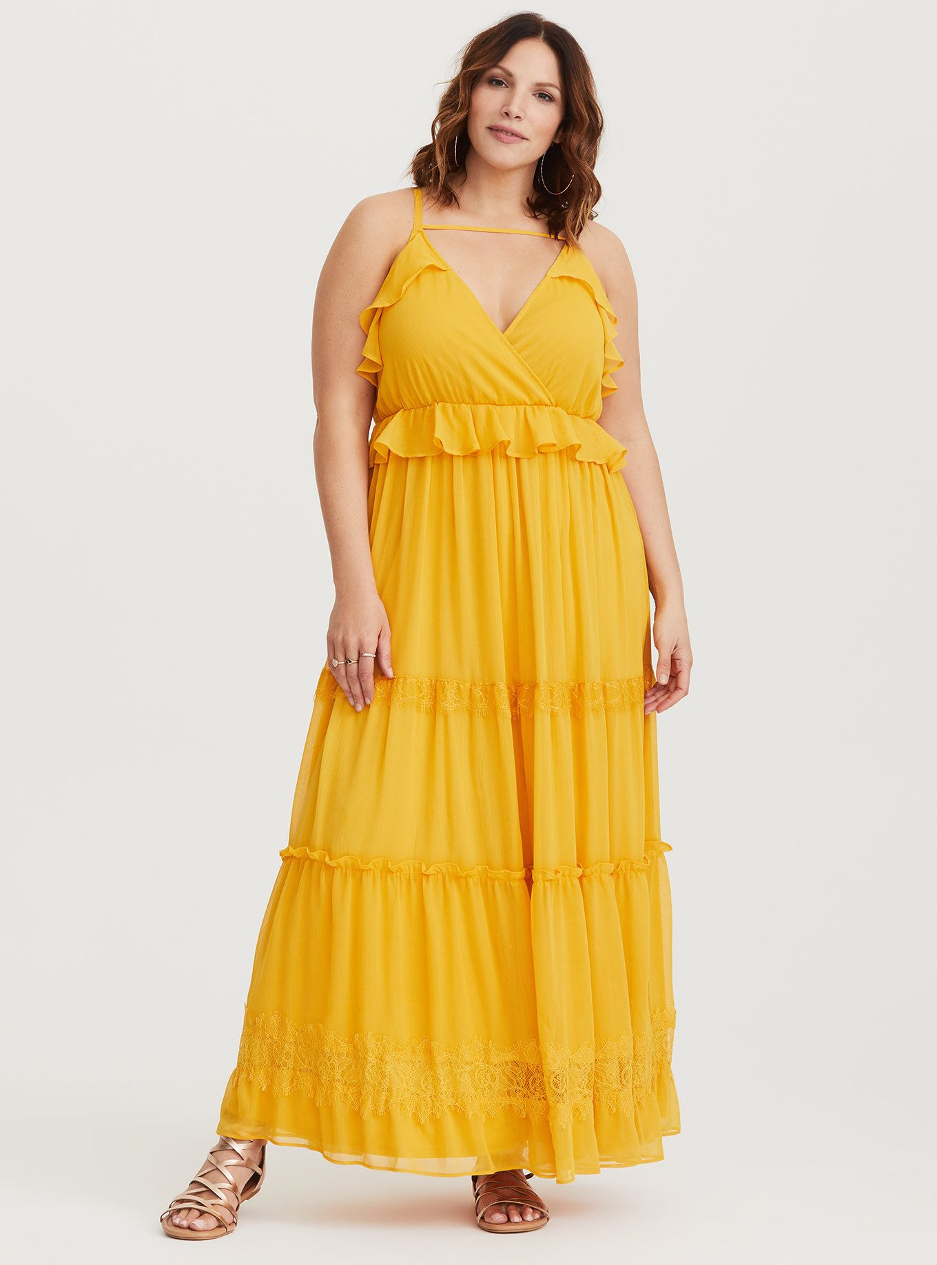 5bc1e793837a3 Yellow Chiffon Maxi Dress in 2019 | I Feel Pretty | Chiffon maxi ...