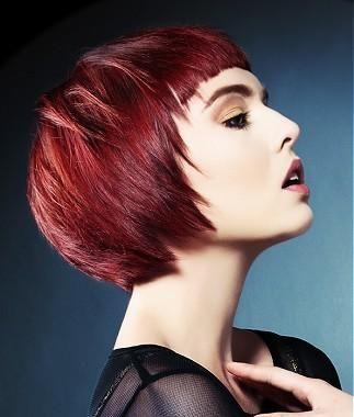 A Short Red Straight Coloured Choppy Definedfringe Shortfringe - Bob hairstyle definition