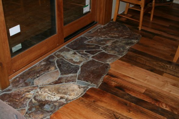 rustic living room tile floor designs | Rustic mountain home - Kitchen, Dining, and Living room combo