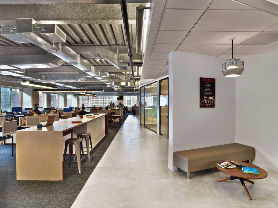 Modern office with open space interior with industrial for Commercial office space design ideas