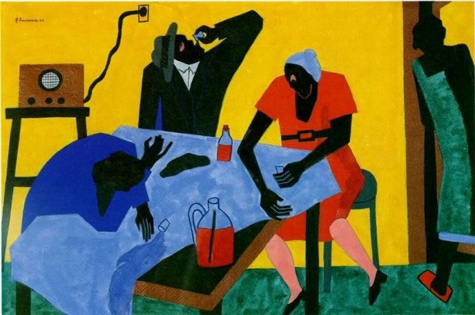 JACOB LAWRENCE /  Harlem Series, 1942-43. You can buy bootleg whiskey for twenty-five cents a quart; gouache on paper.
