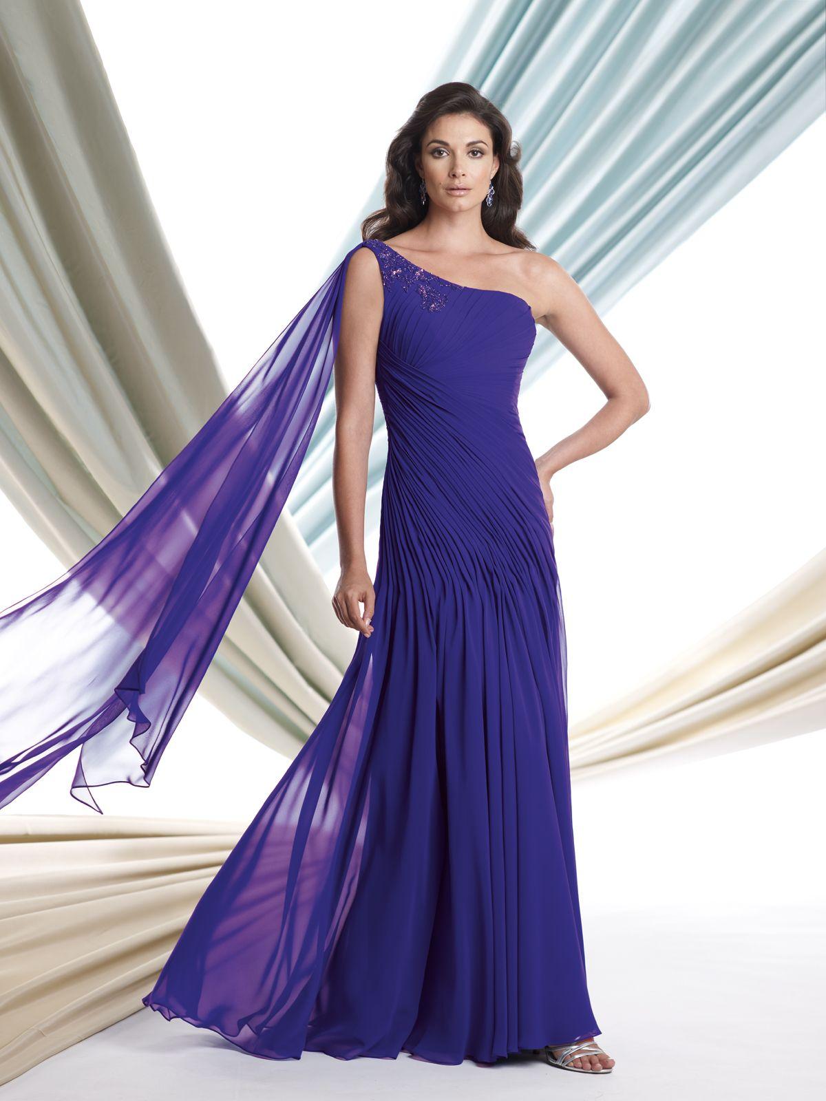 One-shoulder chiffon slim A-line dress with curved asymmetrical ...