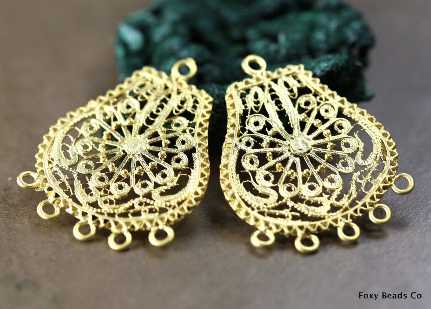 Indian style filigree chandelier earring component large 2 pieces indian style filigree chandelier earring component large 2 pieces pendant 24k gold plated earring components mozeypictures Gallery